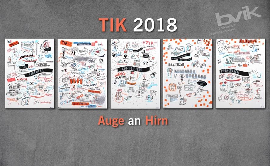 fünf Werke der Business-Zeichnerin Dagmar Gosejacob am TIK 2018